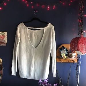 Cotton open back sweater